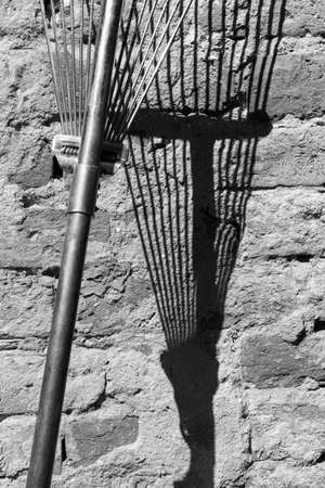 Iron rake with shadow on brick wall in black and white, contemporary abstract photography 版權商用圖片