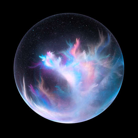 Glossy magical nebula ball fractal, computer generated abstract artwork, 3D rendering