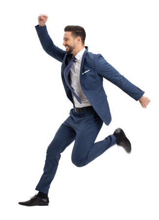 Young successful manager jumping in the air, isolated on white background 版權商用圖片