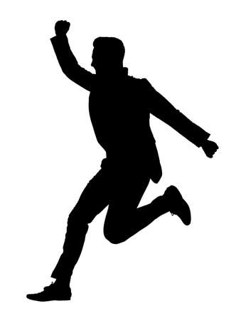 Young successful manager jumping in the air silhouette, isolated on white background 版權商用圖片