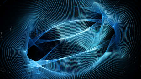 Blue glowing interstellar quantum strings of wormhole in space, computer generated abstract background, 3D rendering