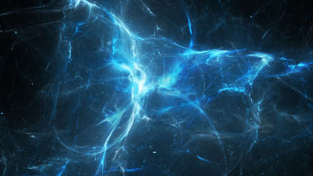 Blue glowing multidimensional plasma force field in space, dark matter and energy, computer generated abstract background, 3D rendering