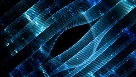Blue glowing futuristic communcation grid, computer generated abstract background, 3D rendering 版權商用圖片