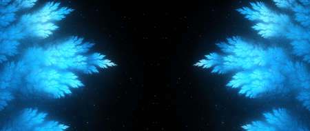 Blue glowing frozen Christmas template with empty space, double sided, computer generated abstract background, 3D rendering