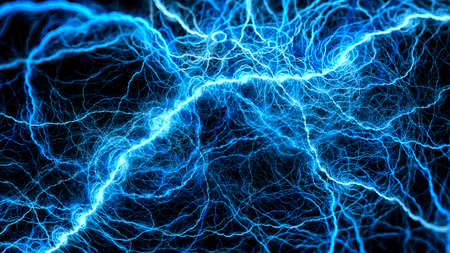 Blue glowing lightning, computer generated abstract background, 3D rendering