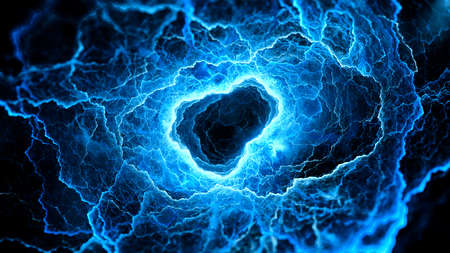 Blue glowing multidimensional portal, stargate, entry of wormhole, computer generated abstract background, 3D rendering