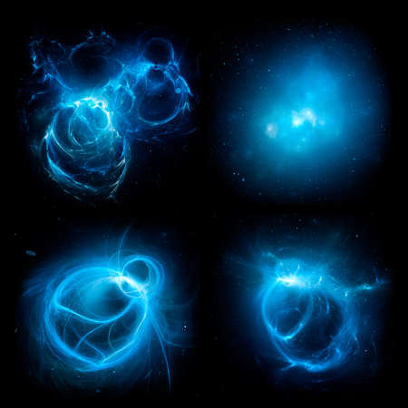 Set of blue glowing plasma energy objects on black space, computer generated abstract 3D rendering