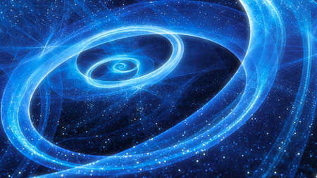 Blue glowing spiral galaxy with stars and trajectories, computer generated abstract background, 3D rendering 版權商用圖片