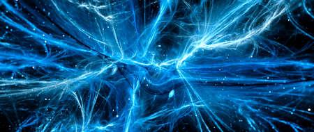 Blue glowing vibrant interstellar energy force fields banner, matter, antimatter dark matter and dark energy, abstract fractal background, computer generated, 3D rendering 版權商用圖片