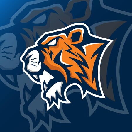 tiger head mascot logo vector design template