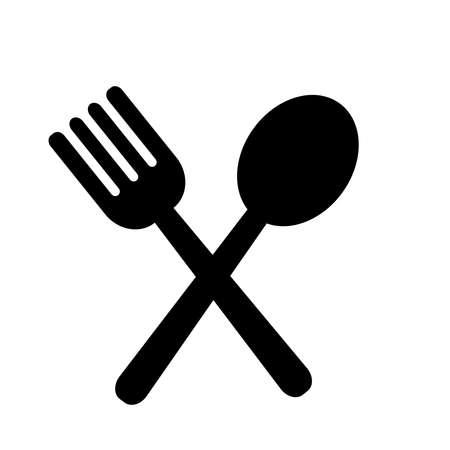 fork and spoon - kitchen utensils - restaurant symbol icon vector design template in white background Ilustración de vector