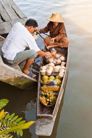 fruit trade: Ampawa Floating Market  Editorial