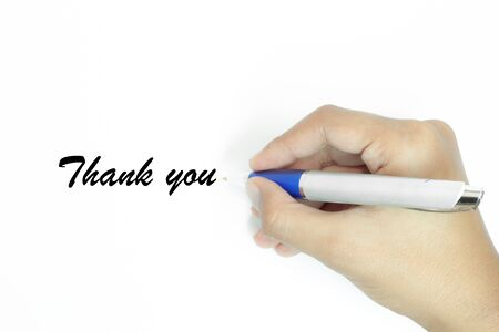 Hand writing thank you  on white background Stock Photo - 15904446