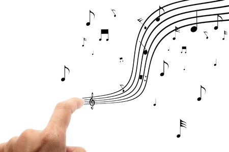 gamut: hands with musical notes  on white background