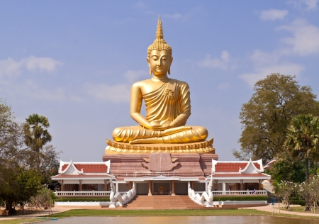 golden Buddha Thailand.Big Buddha statue in the public temple. photo