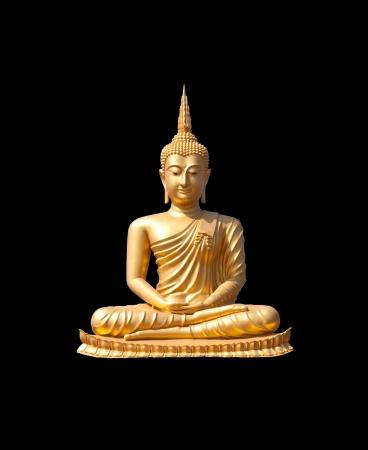 mindfulness: gouden Buddha.Buddha op een zwarte achtergrond.
