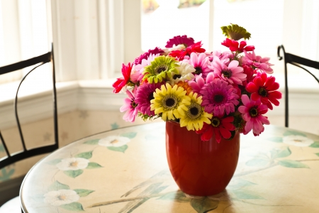 tableland: Colorful artificial flowers made from cloth on tableland.