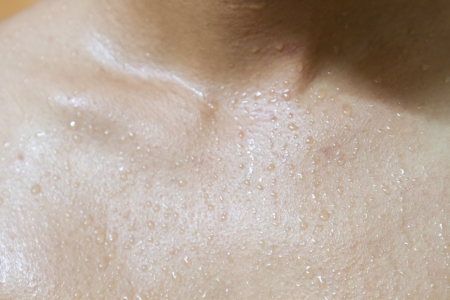soft skin: sweat on human skin