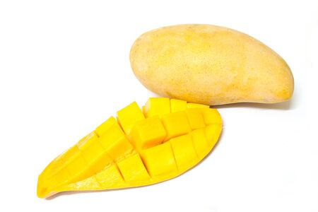 mango fruit: Yellow mango isolated on  white background Stock Photo