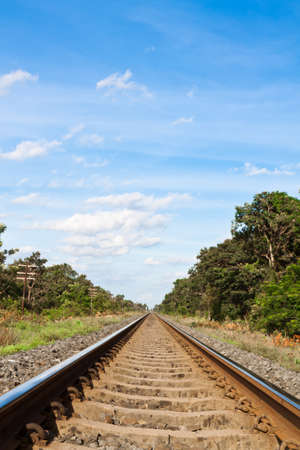 Railroad track and blue sky