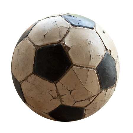 old soccer ball on white background