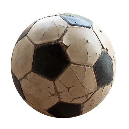 old soccer ball on white background