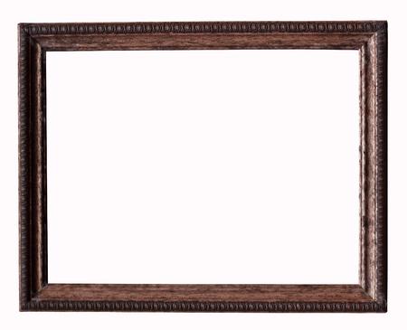 marco madera: Marco de madera sobre un fondo blanco Foto de archivo