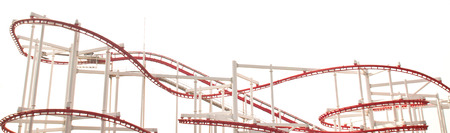 Line of red roller coaster rail on white background. photo