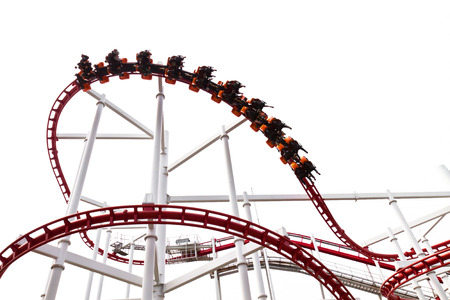 Roller Coaster Track on white background. photo