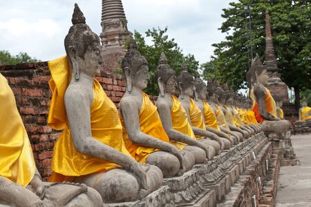 Buddha statue in Wat Yai Chai Mongkol- public temple in Ayuttaya of Thailand photo