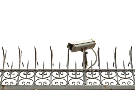 CCTV cameras in fence at home photo