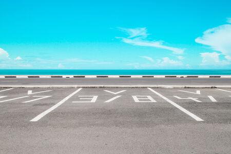 Empty parking area with sea landscape photo