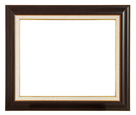 Classic wooden frame isolated on white background photo