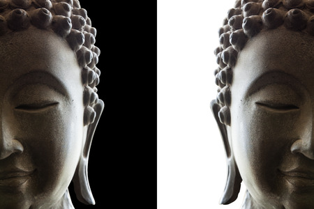 head of buddha on white and black background