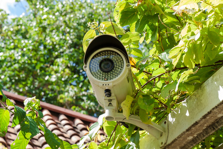 security camera: Security Camera or CCTV at home Stock Photo