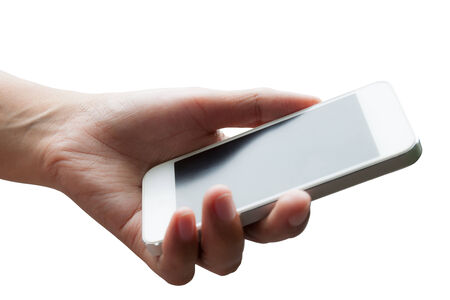 Woman hand holding smart phone isolated on white background photo