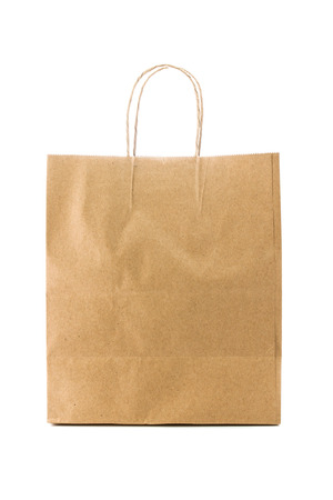 Brown paper bag isolated on white background photo
