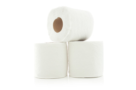 loo: rolls of toilet paper isolated on white background Stock Photo