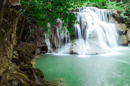 khamin: Huay Mae Khamin waterfall in tropical forest, Thailand