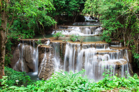 khamin: Huay Mae Khamin waterfall in tropical forest, Thailand