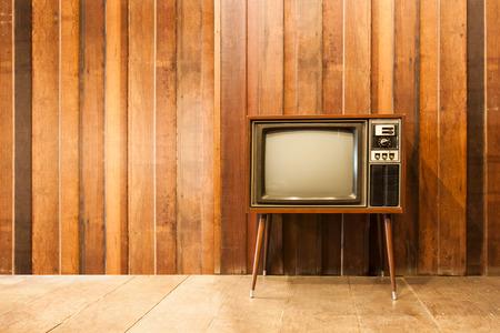 Old vintage television or tv in room Foto de archivo