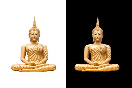 golden buddha on white and black background