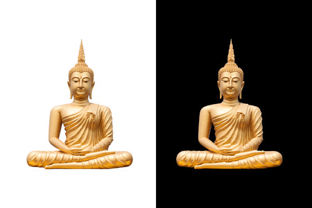 buddha face: golden buddha on white and black background