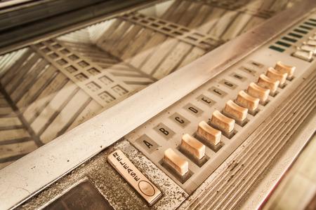 closeup vintage Jukebox button Standard-Bild