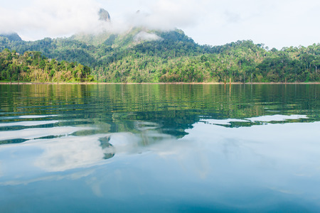 surat: Beautiful mountains and lake   in Ratchaprapha Dam at Khao Sok National Park, Surat Thani Province, Thailand. Stock Photo