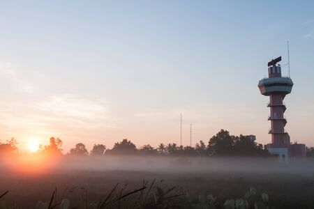 control tower: Airport Control Tower at a Beautiful Sunrise Stock Photo