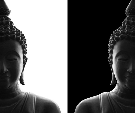head of buddha on white and black background