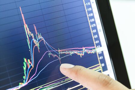 stock brokers: businessman and stock market graph and bar chart price display,Businessman failure in stock market,in blue style