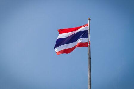 flagstaff: thailand flag with blue sky on flagstaff