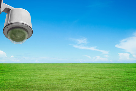 Security surveillance camera or cctv in the park Stock Photo
